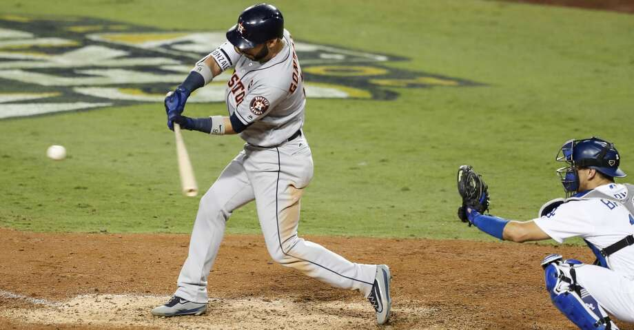 Houston Astros left fielder Marwin Gonzalez (9) hits a solo home run off Los Angeles Dodgers relief pitcher Kenley Jansen during the ninth inning of Game 2 of the World Series at Dodger Stadium on Wednesday, Oct. 25, 2017, in Los Angeles. ( Brett Coomer / Houston Chronicle ) Photo: Brett Coomer/Houston Chronicle