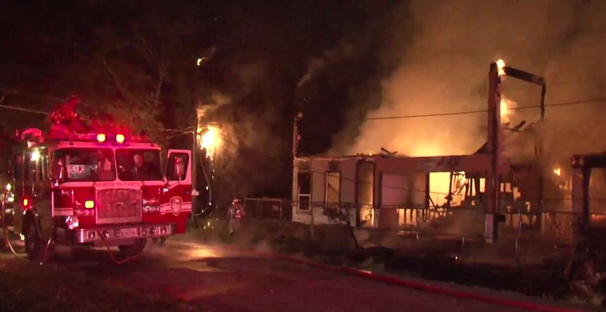 A two-story apartment building in northeast Houston was destroyed early Thursday by a fire. (Metro Video)