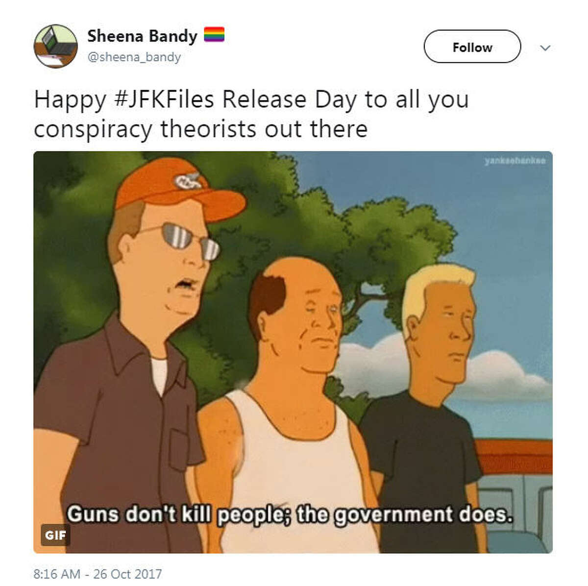 """""""Happy #JFKFiles Release Day to all you conspiracy theorists out there"""" Source: Twitter"""