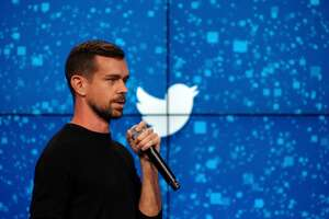 FILE -- Jack Dorsey, Twitter�s co-founder and newly appointed chief executive, speaks at a promotional event in New York, Oct. 8, 2015. Twitter may be President Donald Trump�s favorite platform in 2017, but Square, a payments company also run by Dorsey, has had more success in recent quarters. (Bryan Thomas/The New York Times)