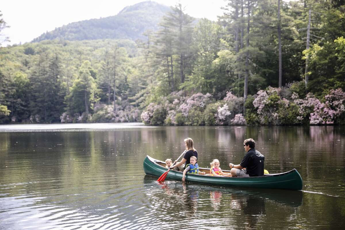 Guests of High Hampton Inn & Country Club in Cashiers, N.C. enjoy boating on a privately-owned, 35-acre spring-fed lake.