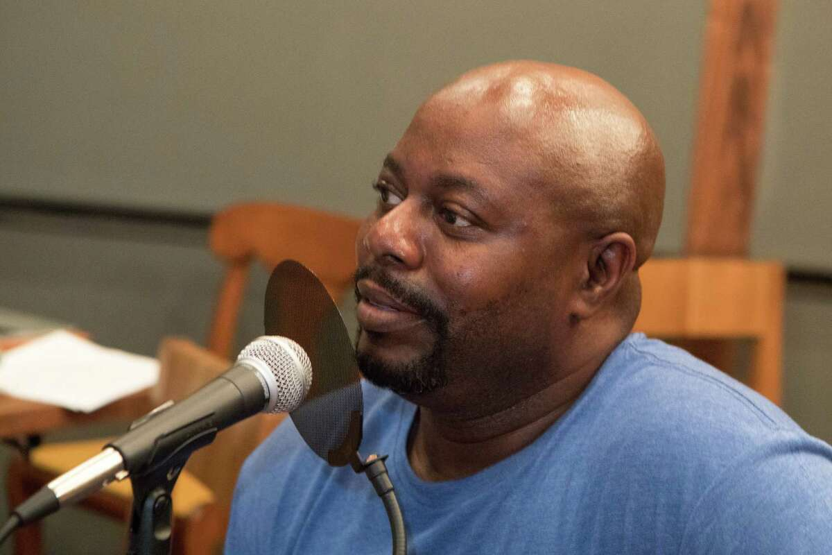 Rodney Scott recording an episode of the Houston Chronicle's BBQ State of Mind podcast at Underbelly before Southern Smoke, Friday, Oct. 20, 2017.