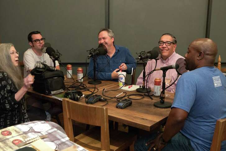 From left, Alison Cooke, Aaron Franklin, Chris Reid, Greg Morago and Rodney Scott recording an episode of the Houston Chronicle's BBQ State of Mind podcast at Underbelly before Southern Smoke, Friday, Oct. 20, 2017.