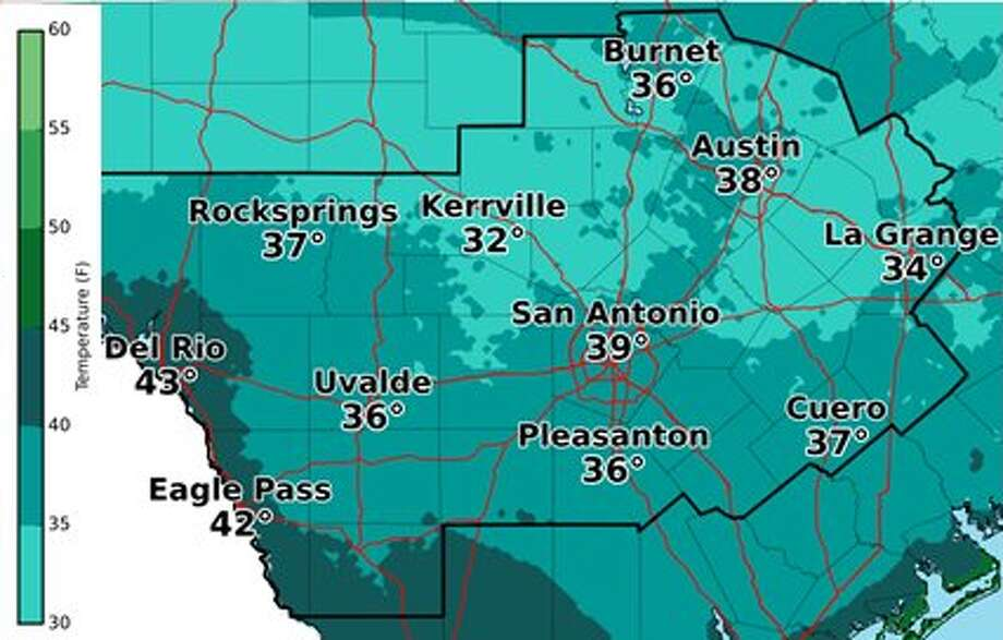 Temperatures are expected to be near freezing on Sunday, Oct. 29, 2017 in San Antonio.