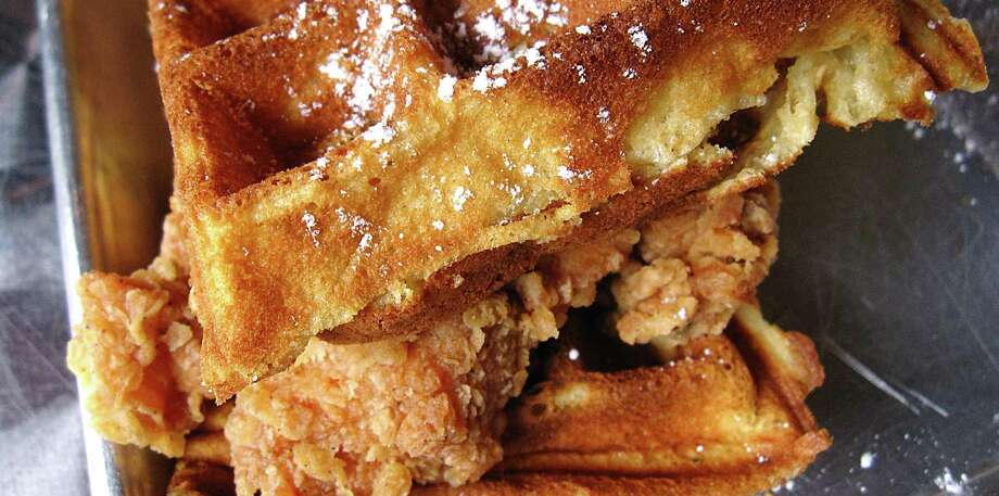 Chicken and waffle slider from The South Chicken & Waffles. Photo: Mike Sutter /Staff File Photo