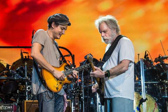 John Mayer, left, and Bob Weir of Dead & Company perform at Bonnaroo Music and Arts Festival on Sunday, June 12, 2016, in Manchester, Tenn. (Photo by Amy Harris/Invision/AP)