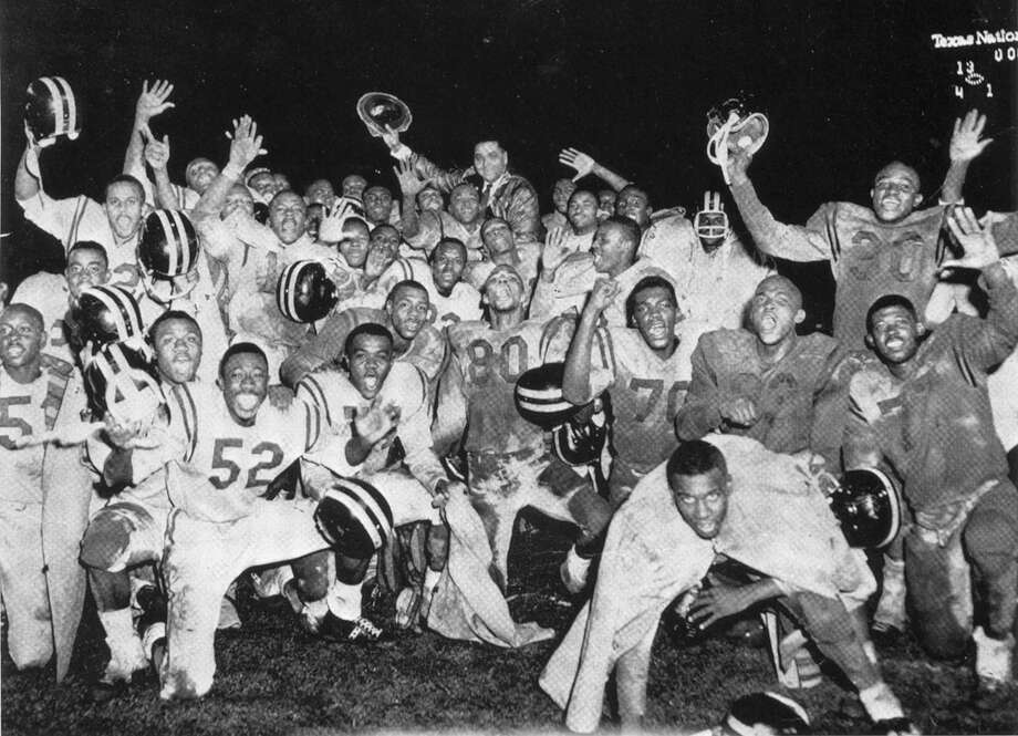Austin's Anderson High School's football team celebrated its 1961 state championship at Jeppesen (later Robertson) Stadium in Houston. Photo: Leroy Bookman / Internal