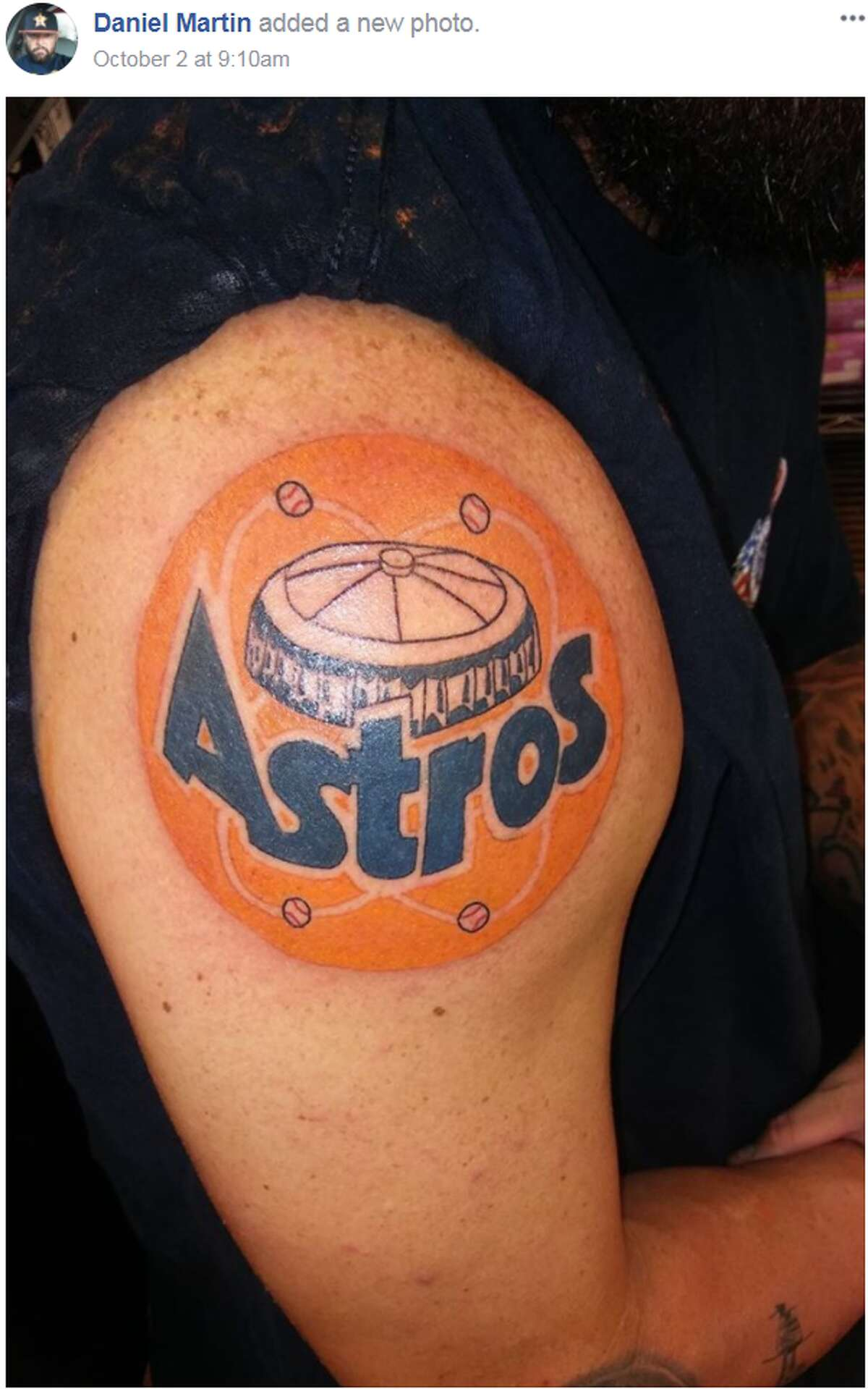 Fan reps an Astros inspired tattoo along with the Houston Astrodome. @danielmartin