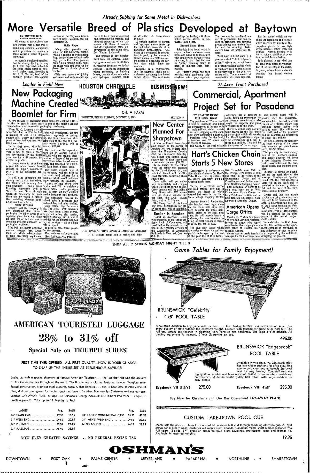 Houston Chronicle inside page - October 3, 1965 - section 9, page 1. Leader in Field Now. New Packaging Machine Created Boomlet for Firm.