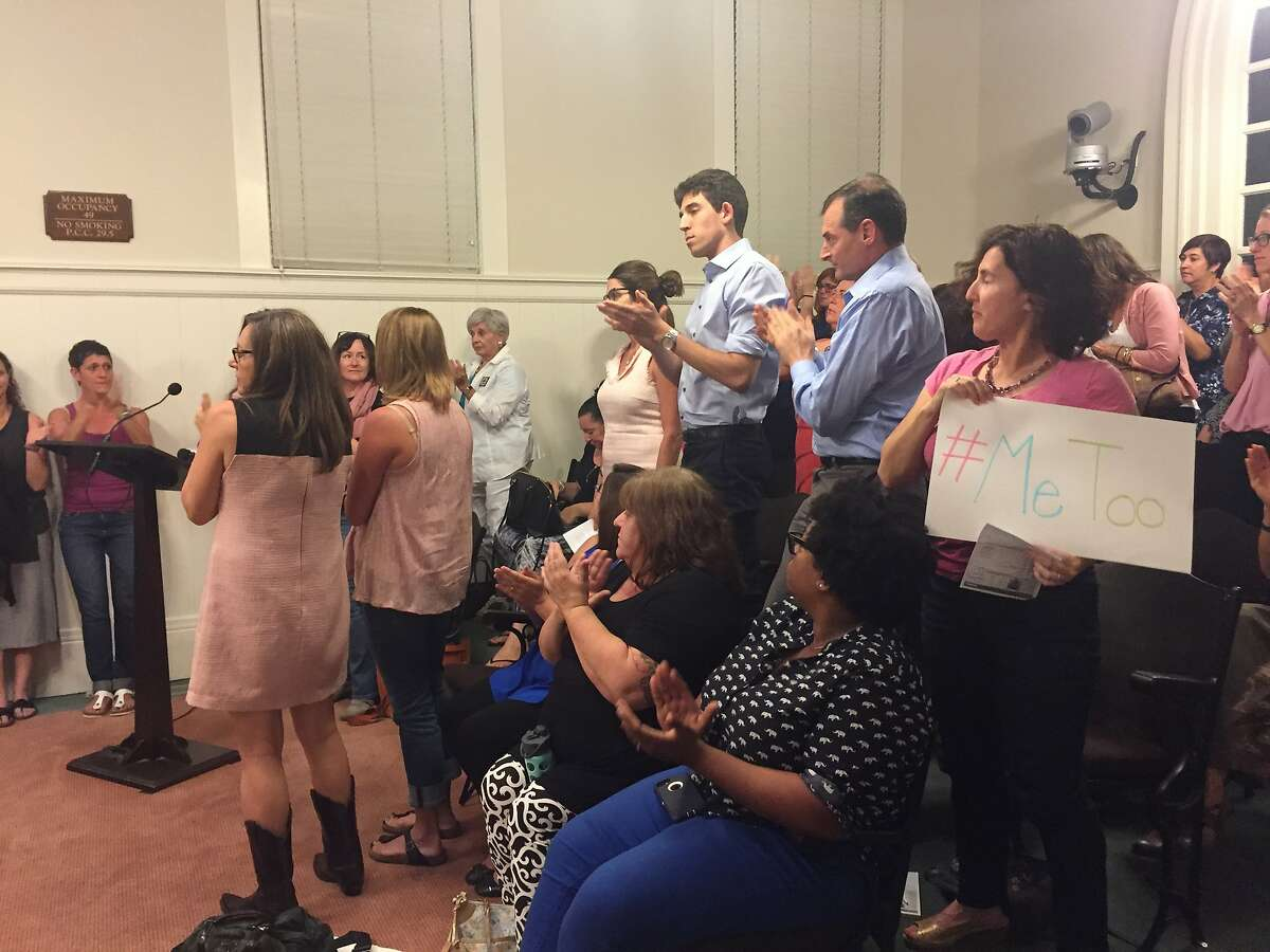 Parents and students pack the Piedmont Unified School District Board of Education meeting Wednesday night to express outrage that a social studies teacher at Piedmont High School has been allowed to return to class after an investigation found he repeatedly sexually harassed students.
