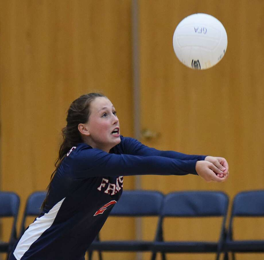 Tess McCormick, a Westport resident and member of the GFA Volleyball team hosted The Masters School on Sept. 18, winning 3-0. Photo: Contributed Photos