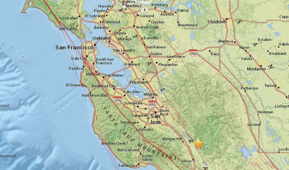 An earthquake with preliminary magnitude of 3.5 struck near Gilroy, Calif., on Thursday, Oct. 26, 2017, according to the USGS. Photo: USGS