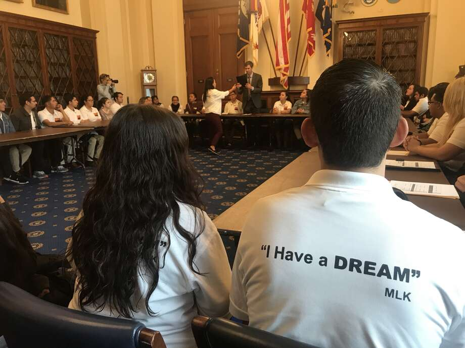 Dreamers Guendi Castro of Las Cruces (left) and Noe Labrado of El Paso (right) meet with Congressman Beto O'Rourke in a house hearing room on October 26, 2017 Photo: Houston Chronicle