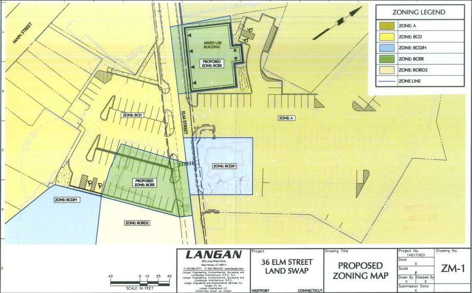 Elm Street Land-Swap zoning map shows the approved land swap. Photo: Contributed Photo