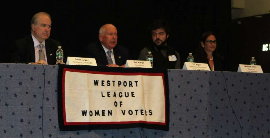 First Selectman Candidates John Suggs, Jim Marpe, T.J. Elgin, and Melissa Kane at the League of Women Voters First Selectman Debate Oct. 24 Photo: Sophie Vaughan /Hearst Connecticut Media /