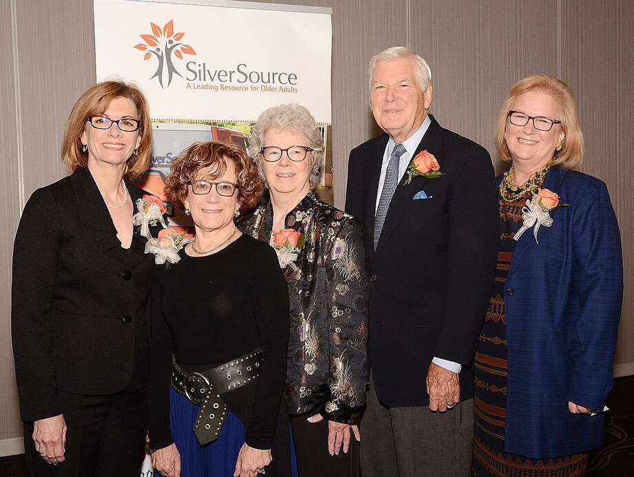 SilverSource award winners Denise Cesareo on behalf of ElderHouse, Roni Lang, Patricia Knebel, and New Canaan's Jim Lisher pose with Kathleen Bordelon, executive director of SilverSource. Photo: Contributed Photo / New Canaan News