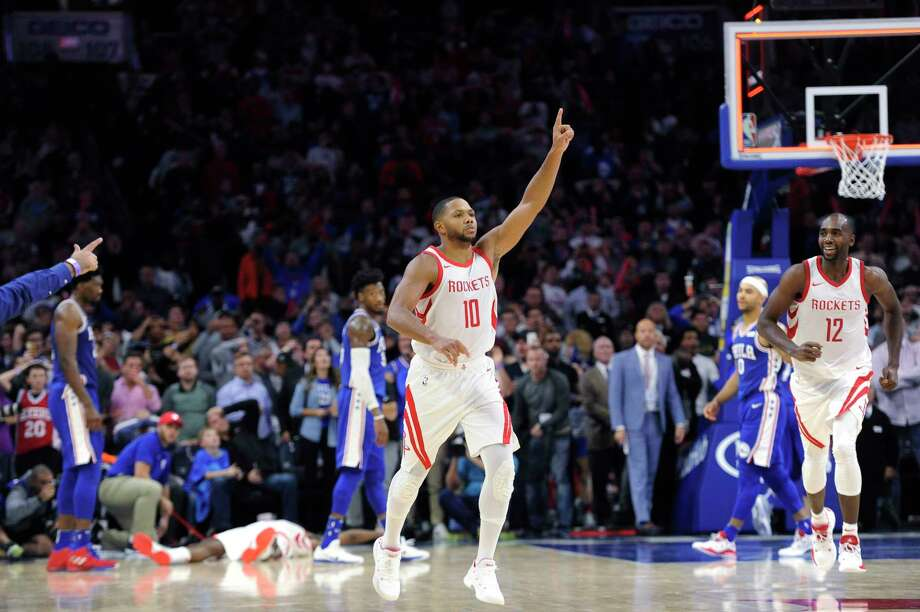Houston Rockets' Eric Gordon (10) celebrates after making a three point basket in the second half of an NBA basketball game against the Philadelphia 76ers, Wednesday, Oct. 25, 2017, in Philadelphia. The Rockets won 105-104. (AP Photo/Michael Perez) Photo: Michael Perez, FRE / FR168006 AP