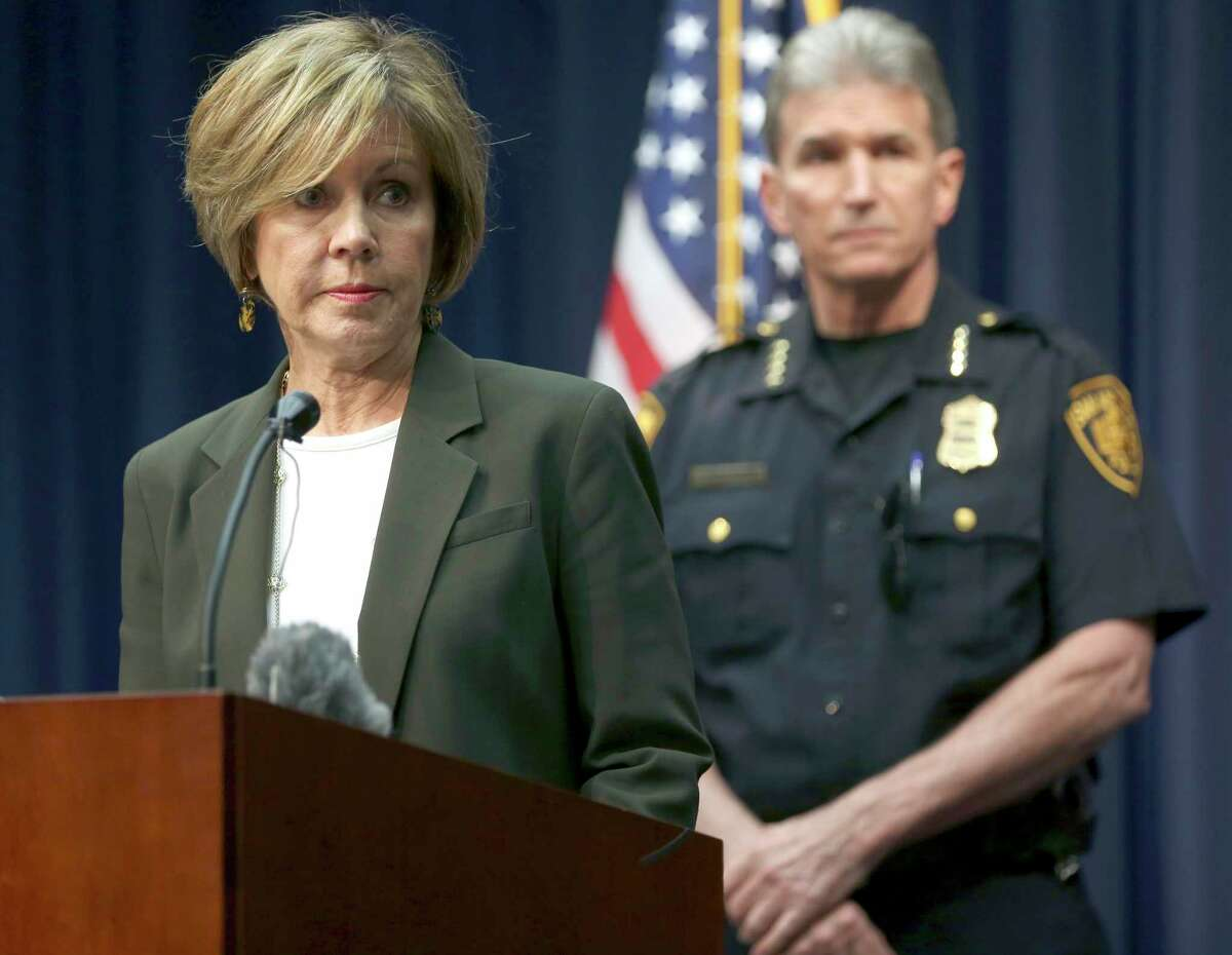 City manager Sheryl Sculley addresses the media Thursday, Oct. 26, 2017 during a news conference in which she announced the city is investigating the apparent mishandling of more than 130 cases of alleged sexual assault and abuse by at least one SAPD officer in the department's Special Victims Unit.