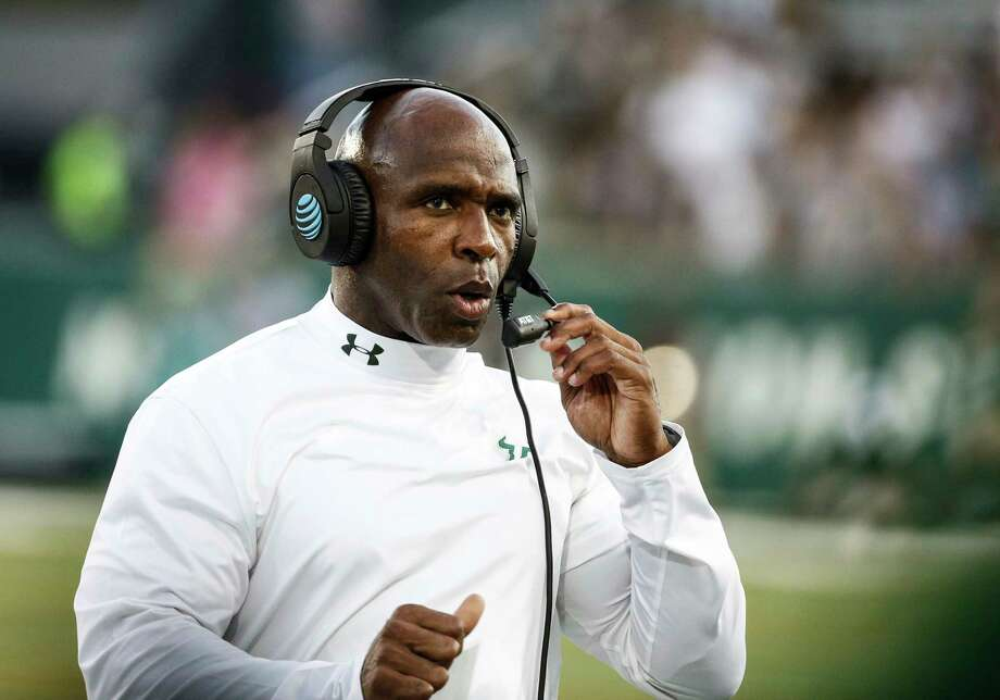 South Florida head coach Charlie Strong looks onduring the first half of an NCAA college football game against Tulane in New Orleans, La., Saturday, Oct. 21, 2017. (AP Photo/Derick E. Hingle) Photo: Derick E. Hingle, FRE / FR 170358AP