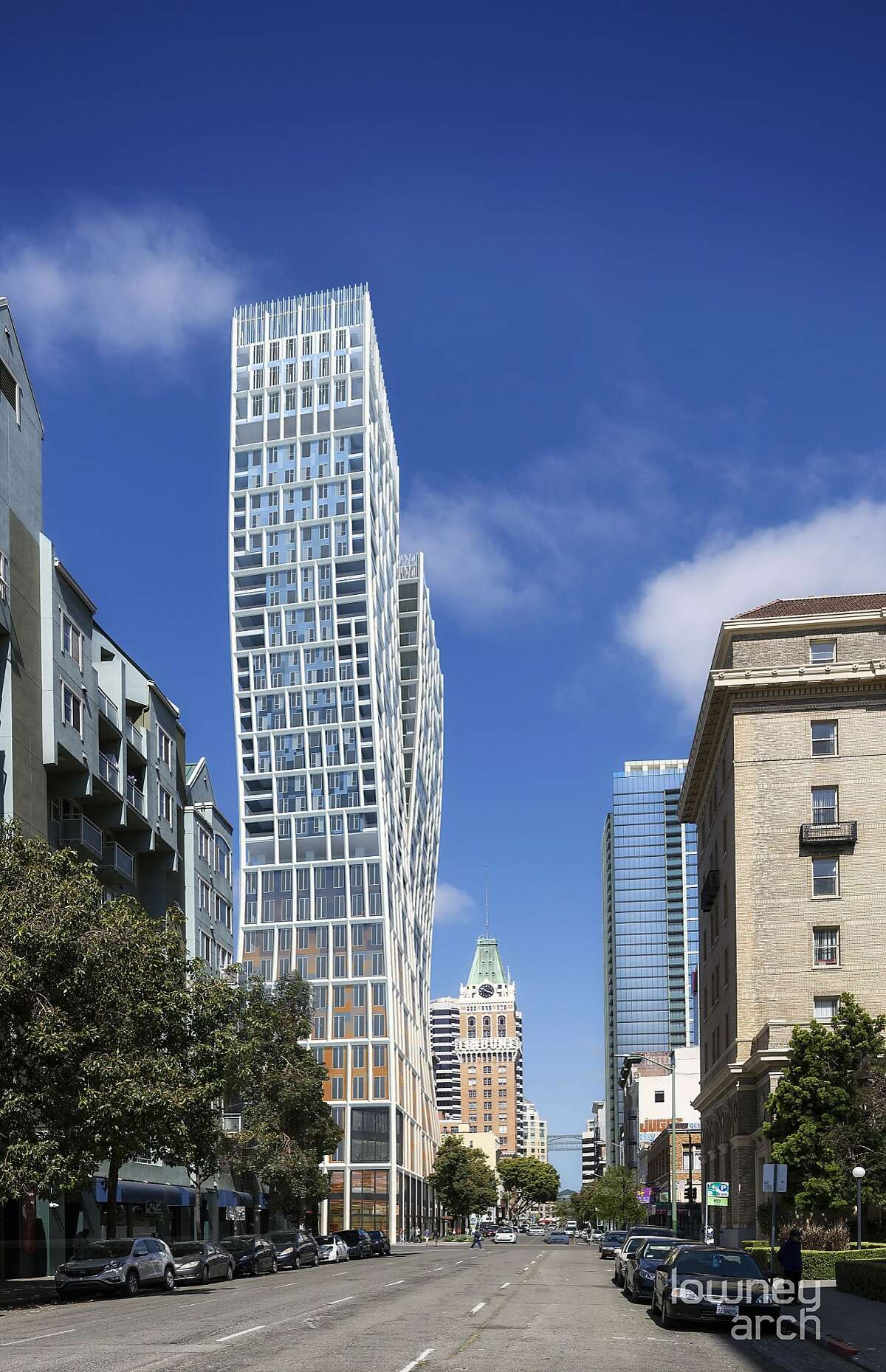 A rendering of 1261 Harrison St., a proposed 36-story, 460-foot tower for downtown Oakland. If approved and built, the high-rise would be the city's tallest building.