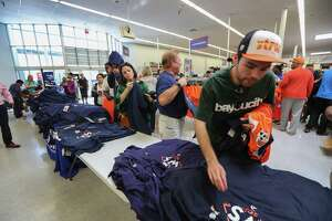 Astros fans stood in line in order to find Astros World Series merchandise in the Academy Sports & Outdoor store 2404 Southwest Fwy, Tuesday, Oct. 24, 2017, in Houston. ( Steve Gonzales / Houston Chronicle )