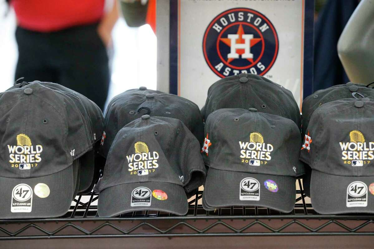 Astros World Series hats for sale in the Academy Sports & Outdoor store 2404 Southwest Fwy, Tuesday, Oct. 24, 2017, in Houston. ( Steve Gonzales / Houston Chronicle )