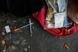 Discarded needles on Larkin Street in San Francisco, Calif., on Thursday, Oct. 26, 2017.