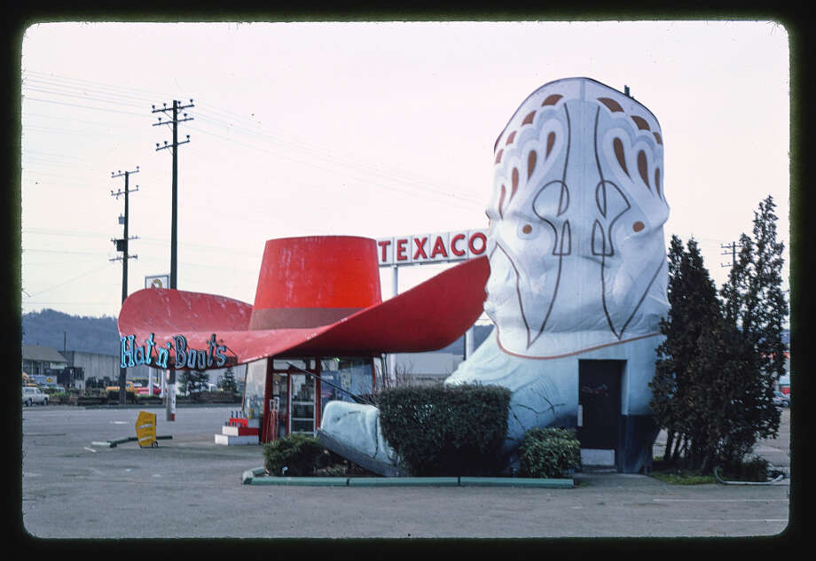The Hat n' Boots gas station, opened in 1945, housed the restrooms in the boot and the cashiers and store under the hat. The station sat on East Marginal Way South, on the state Route 99 line originally. The station closed in 1988 and the hat and boots, billed as the largest cowboy hat and boots in the U.S., fell into disrepair before being moved to Oxbow Park in Georgetown in 2003. They were then restored. Photo: John Margolies/Library Of Congress