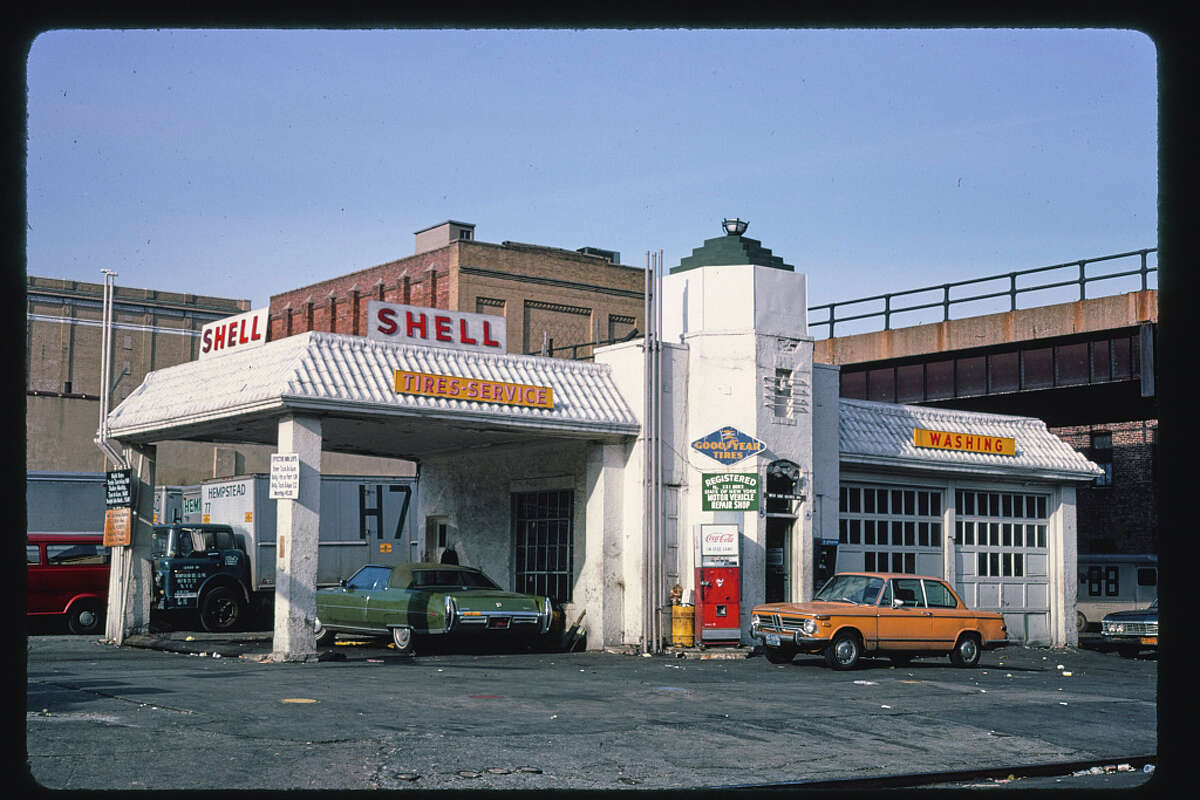 Click through the slideshow for roadside attractions in the Northeast and beyond.  Shell gas station, 10th Avenue and 20th Street, New York City, 1977.