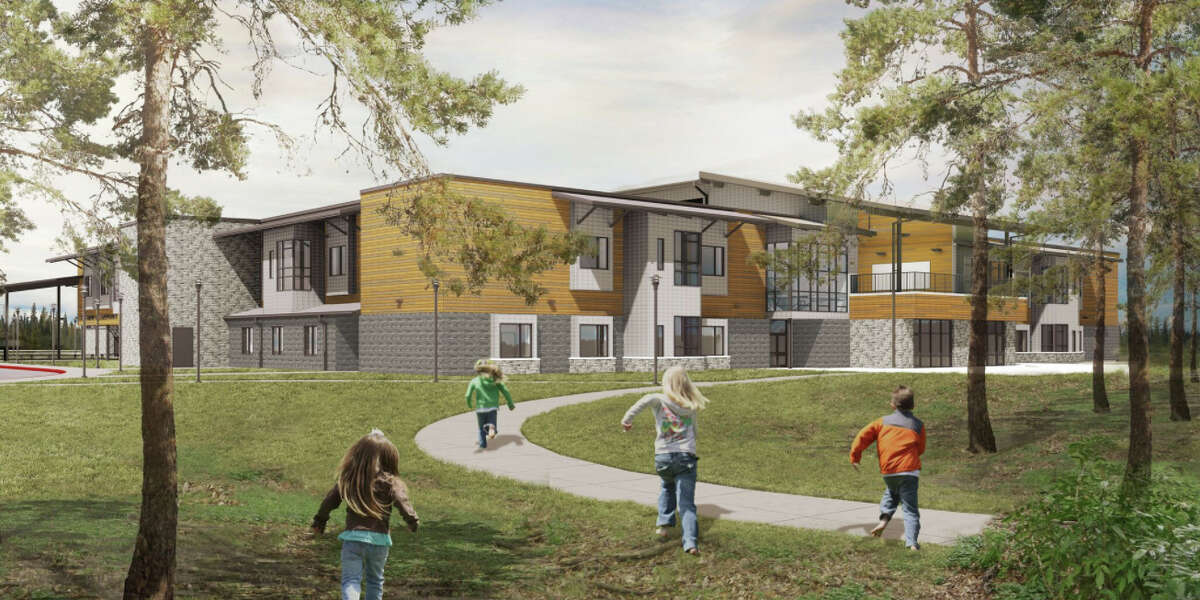 Children run down one of the future Huffman ISD elementary campus walking paths in this rendering provided by Huckabee, Inc.