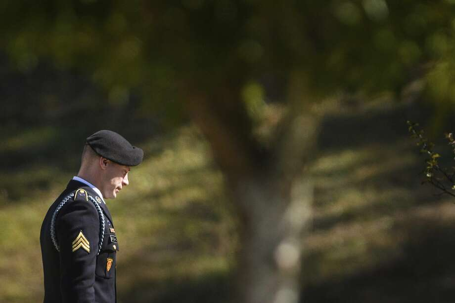 Sgt. Bowe Bergdahl leaves the Fort Bragg courthouse after a sentencing hearing on Thursday, Oct. 26, 2017, on Fort Bragg, N.C. Bergdahl, who walked off his base in Afghanistan in 2009 and was held by the Taliban for five years, pleaded guilty to desertion and misbehavior before the enemy. ( (Andrew Craft/The Fayetteville Observer via AP) Photo: Andrew Craft, Associated Press