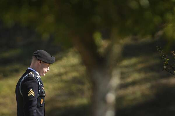 Sgt. Bowe Bergdahl leaves the Fort Bragg courthouse after a sentencing hearing on Thursday, Oct. 26, 2017, on Fort Bragg, N.C. Bergdahl, who walked off his base in Afghanistan in 2009 and was held by the Taliban for five years, pleaded guilty to desertion and misbehavior before the enemy. ( (Andrew Craft/The Fayetteville Observer via AP)