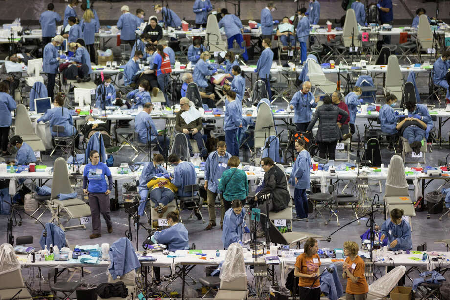 110 dental chairs fill KeyArena for the free Seattle/King County Clinic on Thursday, Oct. 26, 2017. Photo: GRANT HINDSLEY, SEATTLEPI.COM / SEATTLEPI.COM