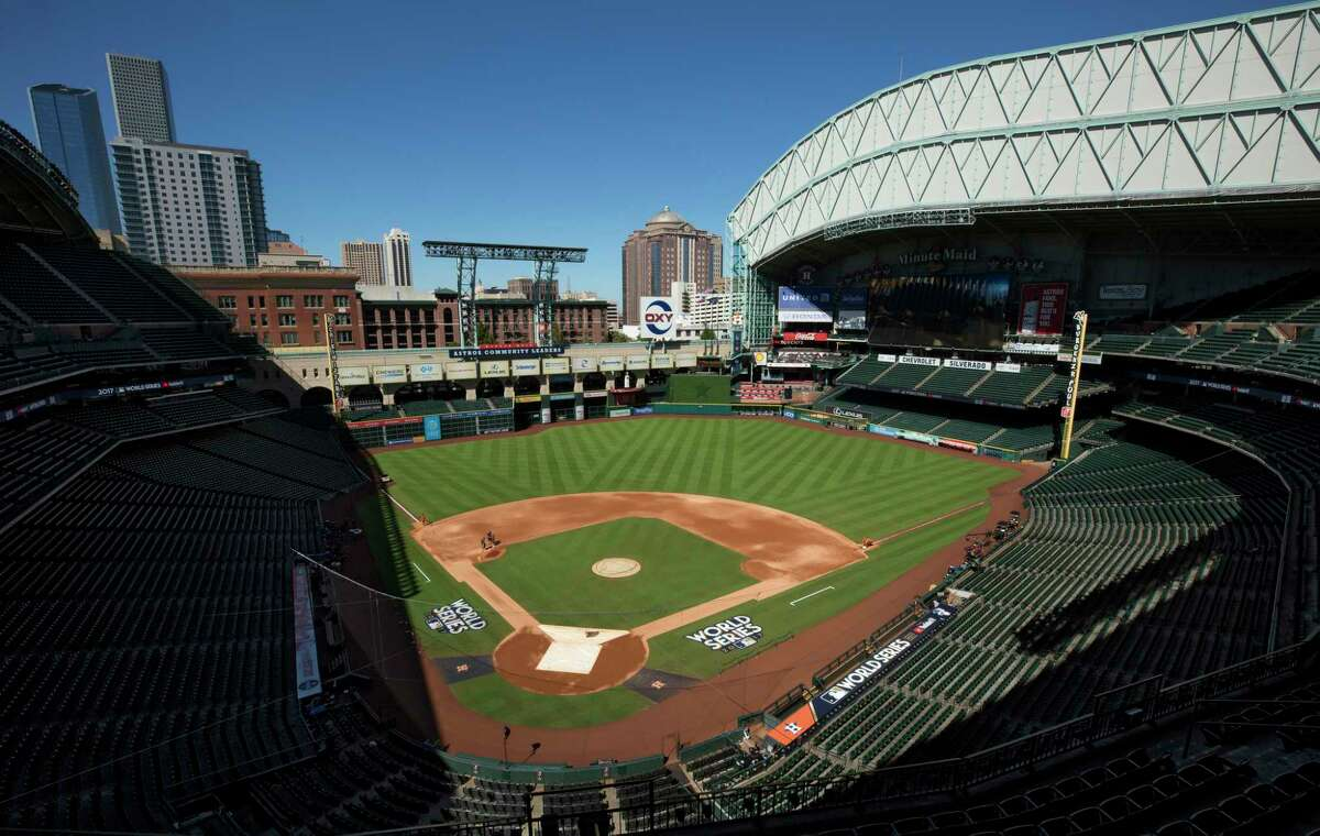 Minute Maid Park seen with the roof open Thursday, Oct. 26, 2017, in Houston. The Houston Astros come back home for the next three games of the World Series against the Los Angeles Dodgers.