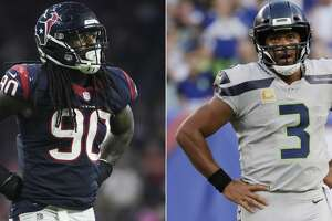 Split photo of Texans' Jadeveon Clowney and Seahawks quarterback Russell Wilson.