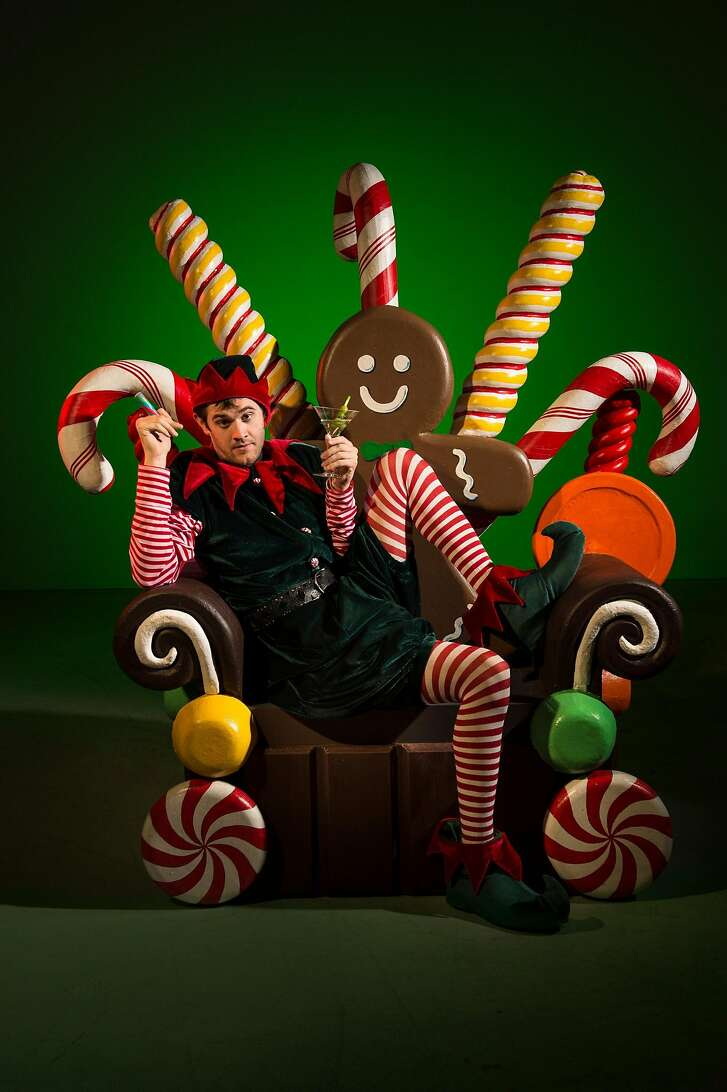 """David (Max Tachis) is Crumpet the Elf at a department store during the holidays in TheatreWorks' """"The Santaland Diaries."""""""