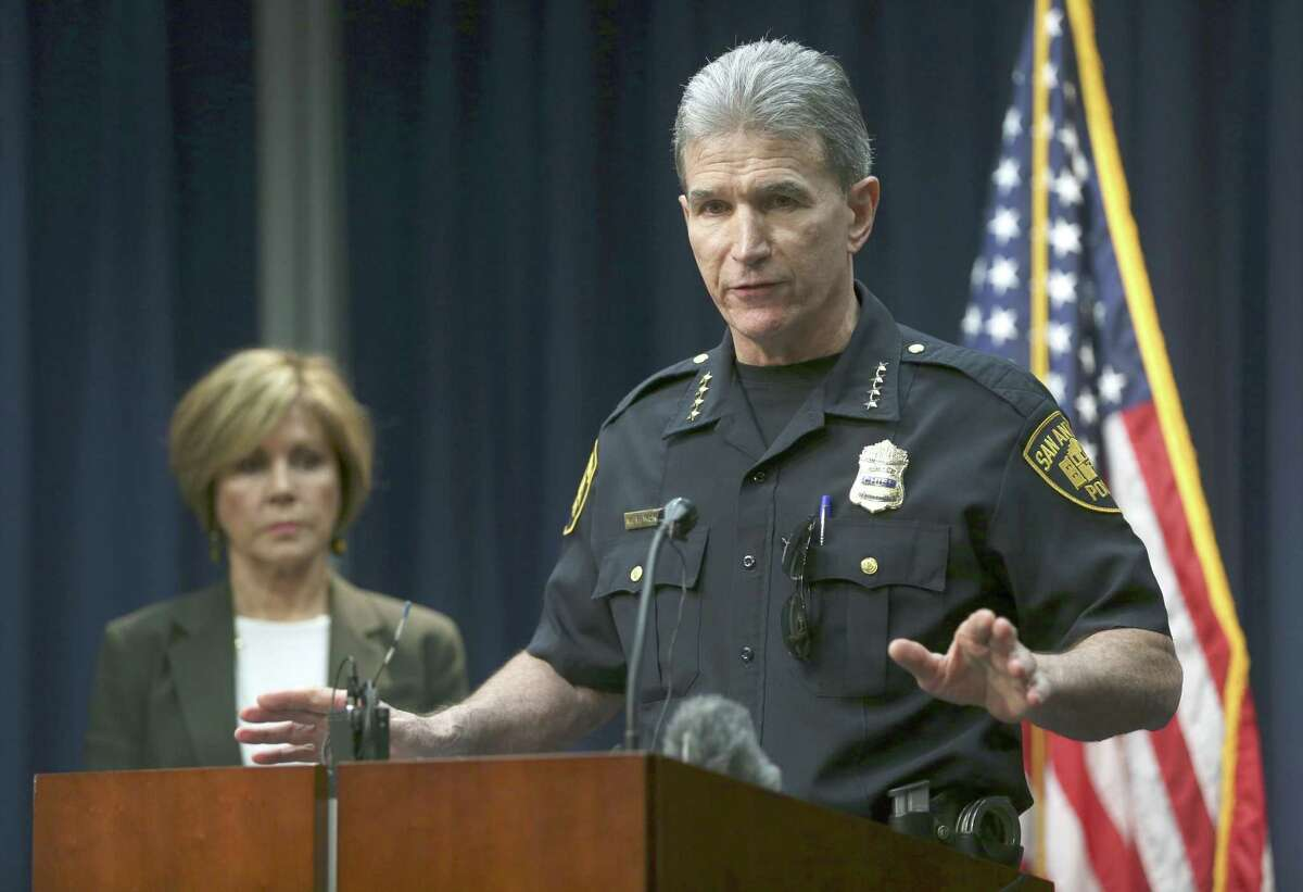 San Antonio police chief William McManus addresses the media Thursday, Oct. 26, 2017 during a news conference in which he announced the department is investigating the apparent mishandling by at least one SAPD officer of more than 130 cases of alleged sexual assault and abuse in the department's Special Victims Unit.