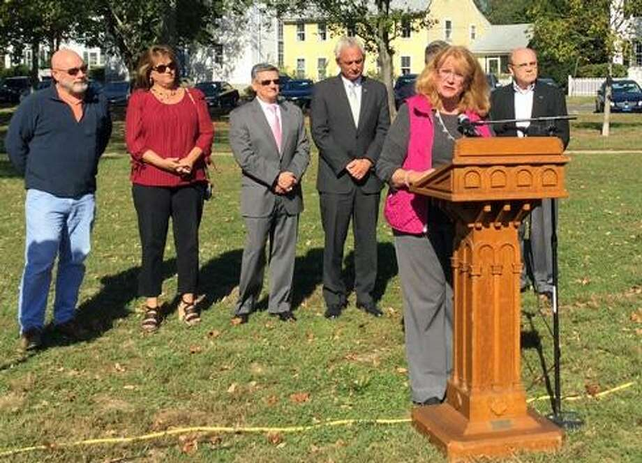Rep. Noreen Kokoruda on the Guilford Green with local elected officials urging an override of the gubernatorial veto. Photo: Jack Kramer / CTNewsJunkie File Photo