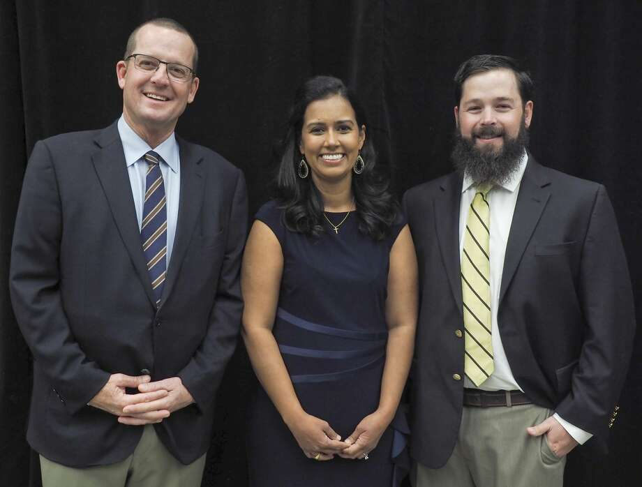 Stuart Beal, Dr. Premila (Singh) Johnson and John-Mark Echols are being honored as a Trinity School Hall of Honor 10/26/17. Tim Fischer/Reporter-Telegram Photo: Tim Fischer/Midland Reporter-Telegram