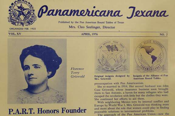 A Pan American Round Table of Texas newsletter from 1976 features a photo of Florence Terry Griswold.