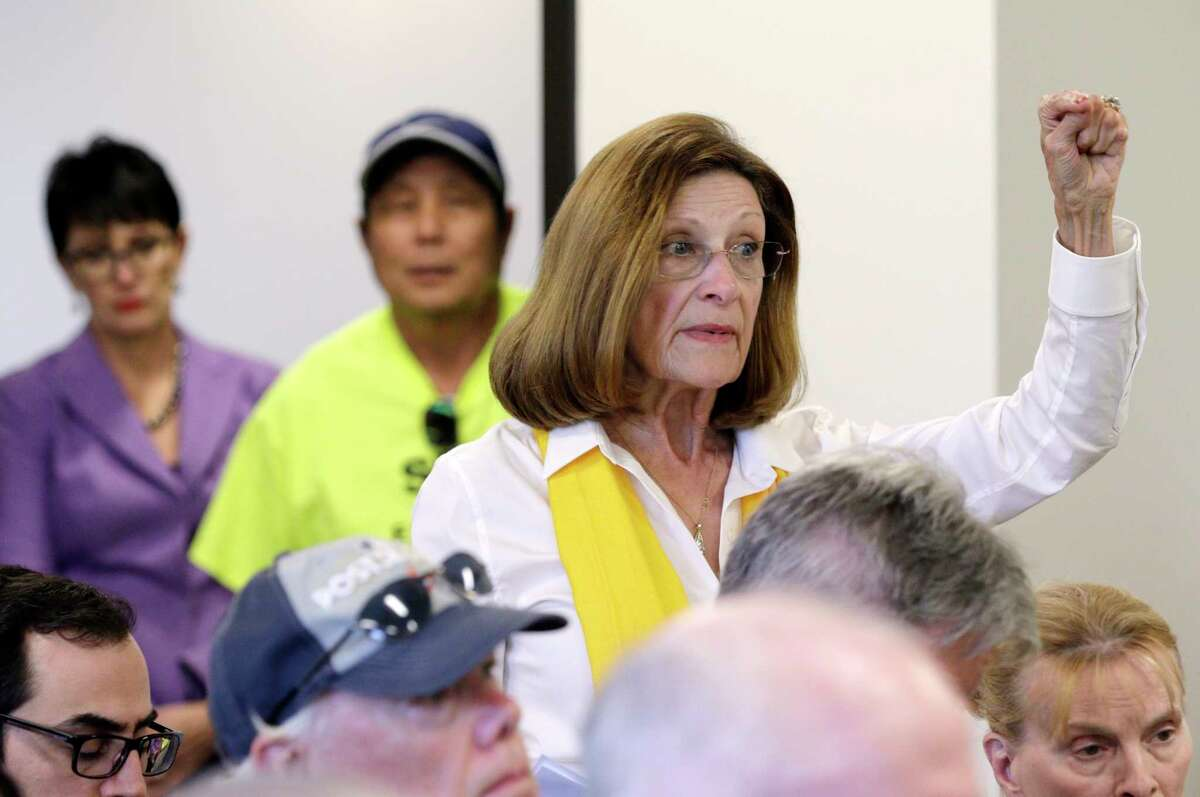 Area resident Carol Stromatt comments during the board meeting of the Municipal Utility District 386 in Tomball, TX, Oct. 26, 2017 (Michael Wyke / For the Chronicle)