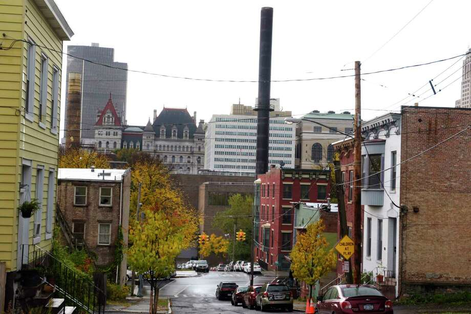 A view of the former trash incinerator site on Orange Street, building with single stack sticking out, seen here on Thursday, Oct. 26, 2017, in Albany, N.Y.  (Paul Buckowski / Times Union) Photo: PAUL BUCKOWSKI / 20041960A