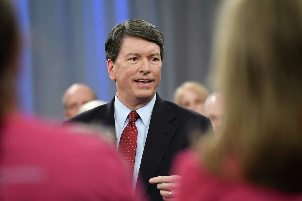 Rep. John Faso, R-Kinderhook, takes part in a televised town hall event moderated by Matt Ryan of ONew York NowO and the Times UnionOs Casey Seiler at the WMHT studio on Thursday, April 13, 2017 in Troy, N.Y. (Lori Van Buren / Times Union)