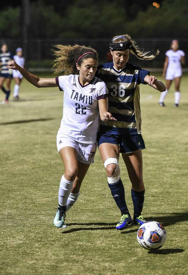 Texas A& International University Nicole Cohen goes for the steal during a game against St. Edward's University on Thursday, Oct. 26, 2017, at the TAMIU Soccer Complex. Photo: Danny Zaragoza /Laredo Morning Times File