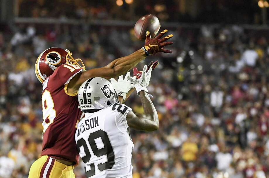 Cornerback David Amerson (29) had two interceptions last season. The Raiders have not gotten a pick this season. Photo: The Washington Post / Jonathan Newton / Getty Images / 2017 The Washington Post