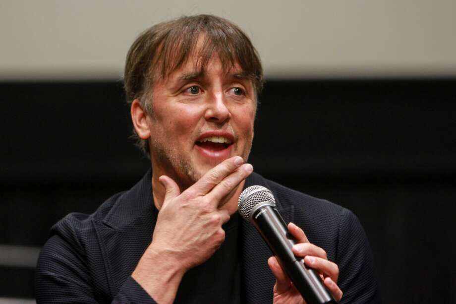 "Houston native Richard Linklater talks to the audience after a special screening of his film, ""Last Flag Flying."" The film was hosted by the Helping A Hero organization, which works with wounded veterans. (For the Chronicle/Gary Fountain, October 26, 2017)"