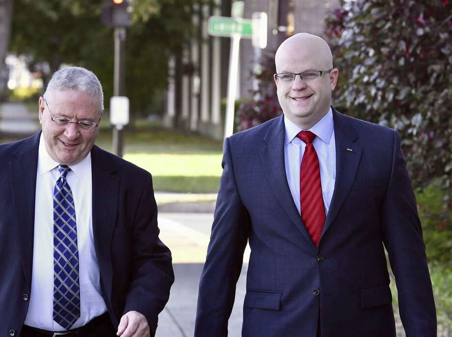 Rensselaer County District Attorney Joel Abelove arrives at Rensselaer City Hall to testify in front of a grand jury that is investigating his handling of a police shooting that left a drunken driving suspect dead in April 2016. Photo: Skip Dickstein / Times Union