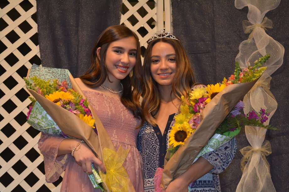 Brisa Gonzalez (right), daughter of Jesus Gonzalez and Elsa Soto, is the new Plainview Lions Club Queen, with Andrea Lara, daughter of Dr. Sergio and Claudia Lara, new Lions Princess. They were selected Thursday from a field of eight during the annual Plainview Lions Club Contest. They were crowned by their predecessors, current Queen Katie Mahagan and Princess McKinley Whalen.