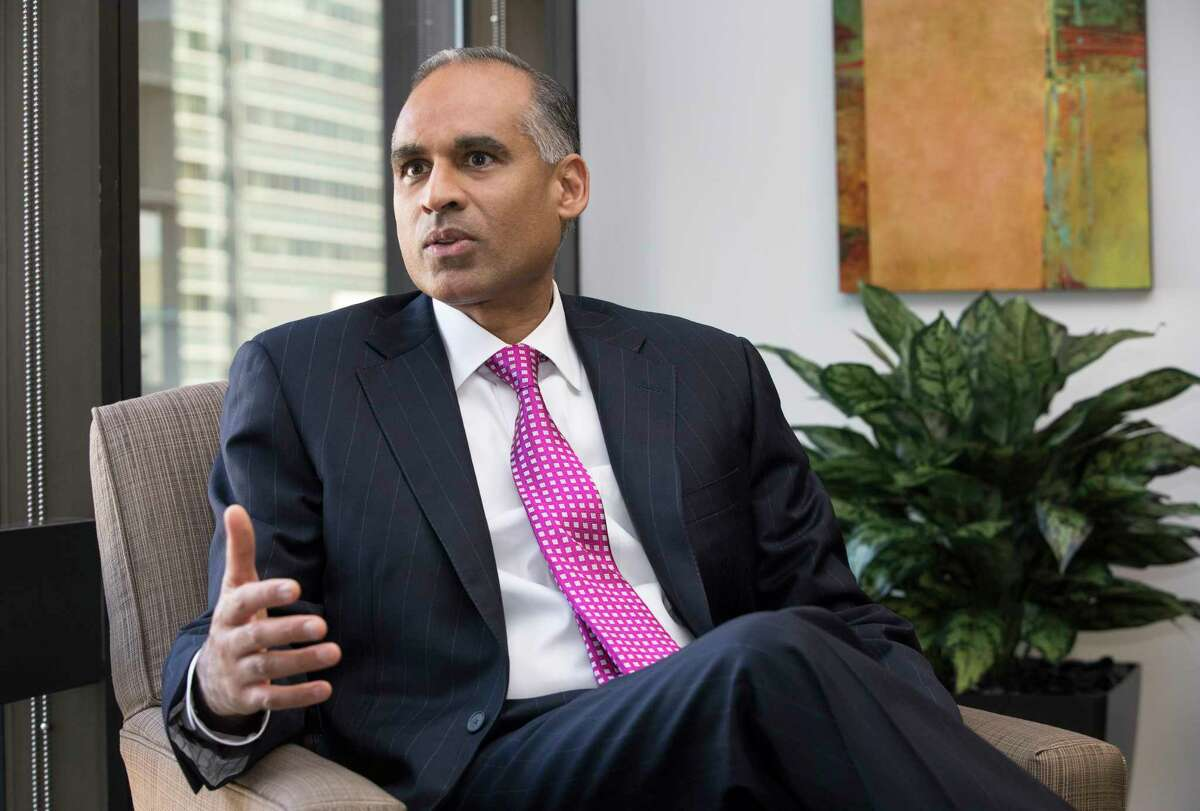 LyondellBasell Industries CEO Bob Patel talks about growth, rebranding and the 10-year anniversary of the formation of the company when Lyondell and Basell merged into what is now a $40 billion companyon at his office on Wednesday, Oct. 18, 2017, in Houston. ( Yi-Chin Lee / Houston Chronicle )