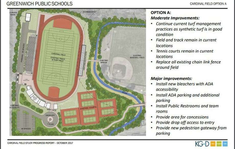 "KG and D presented ""Option A"" for a Cardinal Stadium redesign to the Board of Education on Oct. 19. This design would cost approximately $15.1 million, architects said. Photo: Contributed /"